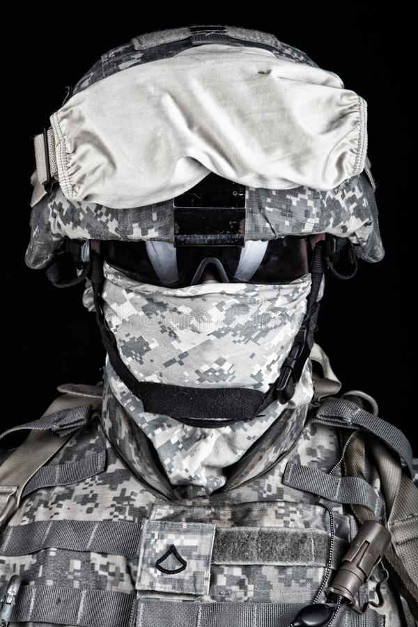 US Marine Corps soldier close up portrait on black royalty free stock images