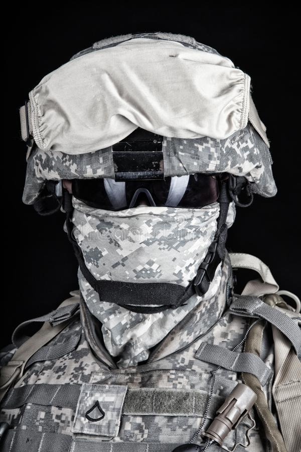 US Marine Corps soldier close up portrait on black royalty free stock photos