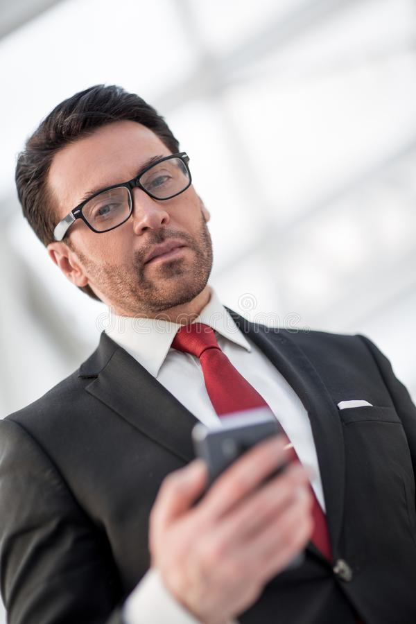 Close up.portrait of a modern businessman royalty free stock photo