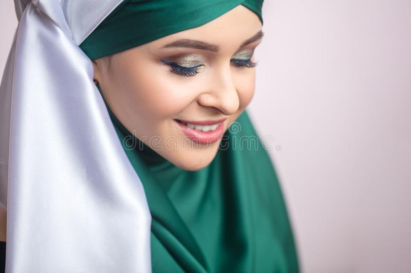 Close up portrait of Muslim lady after beauti salon royalty free stock photography