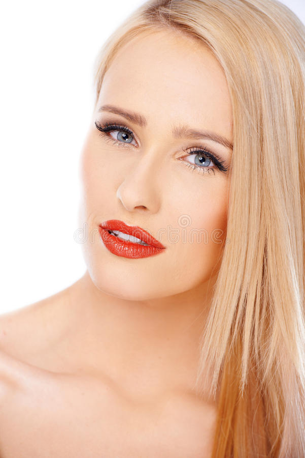 Close up portrait of natural blond woman with red lipstick stock photo