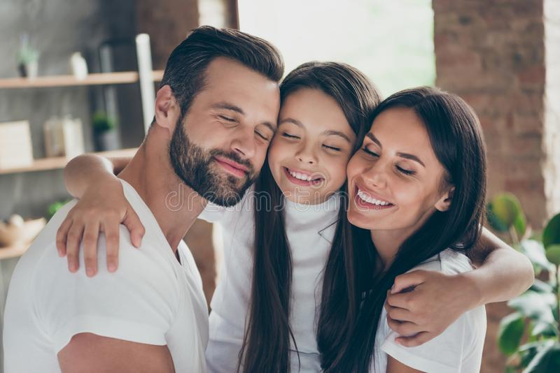 Close-up portrait of nice attractive charming peaceful calm lovely adorable idyllic careful cheerful cheery family. Close-up portrait of nice attractive charming royalty free stock photo