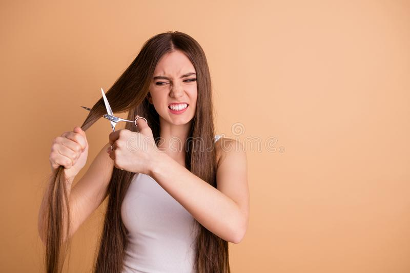 Close-up portrait of nice attractive crazy evil moody grumpy lady cutting messy thin weak curls ends oil recovery season. Close-up portrait of nice attractive royalty free stock photo