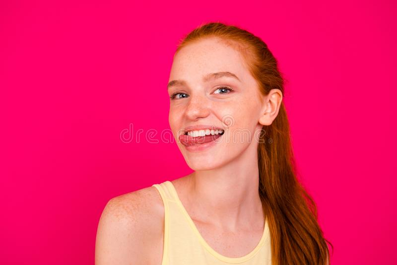 Close-up portrait of nice cute attractive cheerful childish fool royalty free stock image