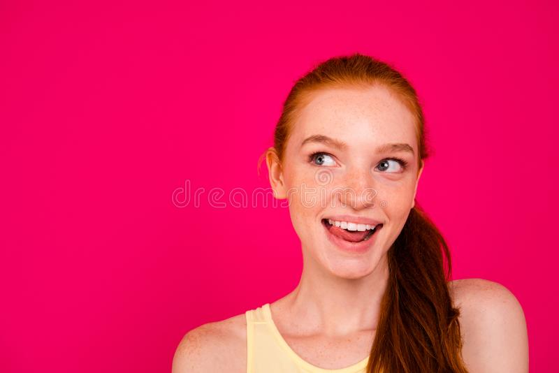 Close-up portrait of nice cute lovely attractive cheerful dreamy stock image
