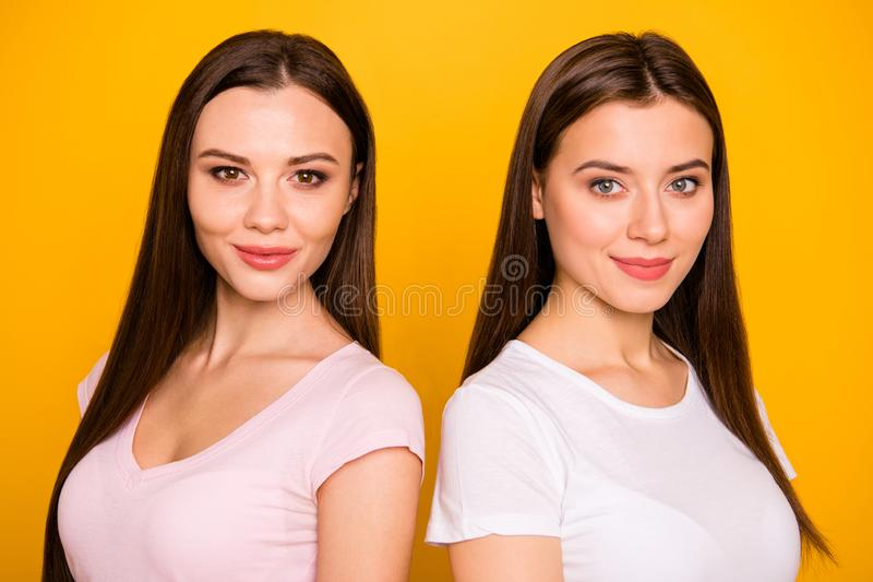 Close-up portrait of nice-looking cute charming sweet winsome lovely attractive cheerful cheery straight-haired ladies royalty free stock image