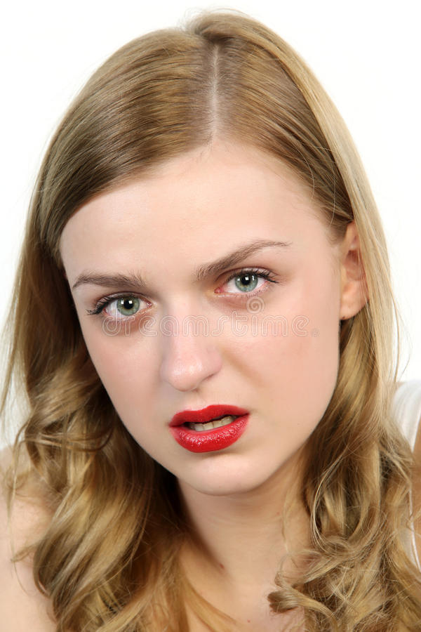 Close up portrait of offended woman stock images