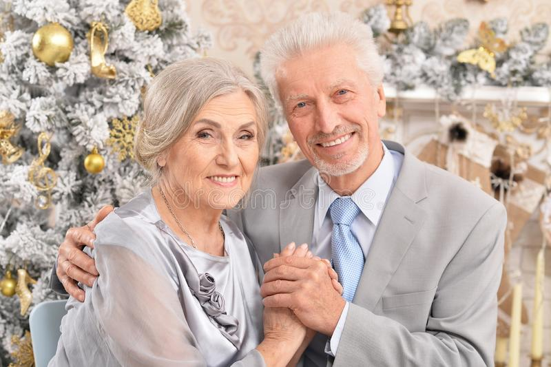 Close up portrait of old couple with Christmas present royalty free stock photo