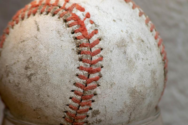 Close up of an old well used baseball royalty free stock image