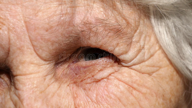 Close-up portrait of a old woman`s gaze. Eye of grandmother stock photo