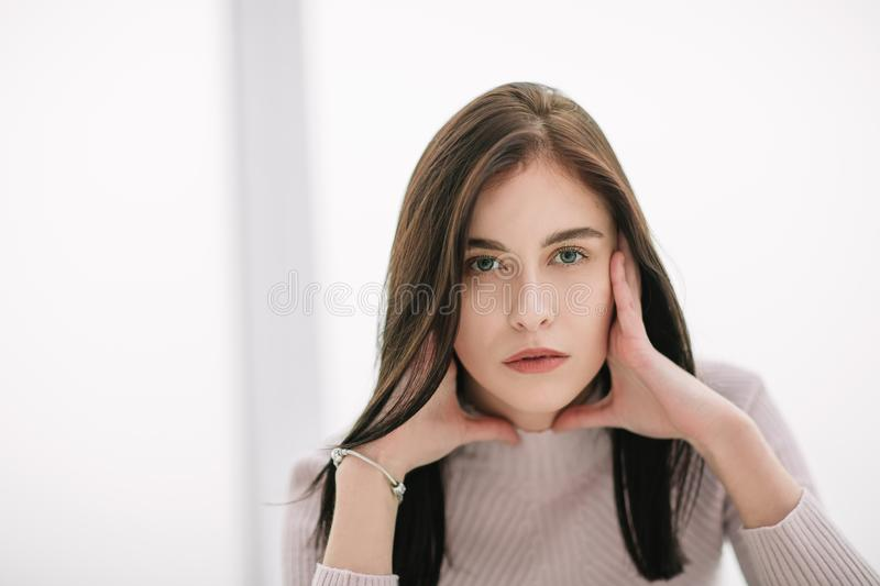 Close up.portrait of a pensive young woman stock photo