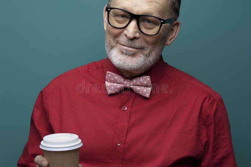 Close-up portrait of positive elderly handsome man stock images