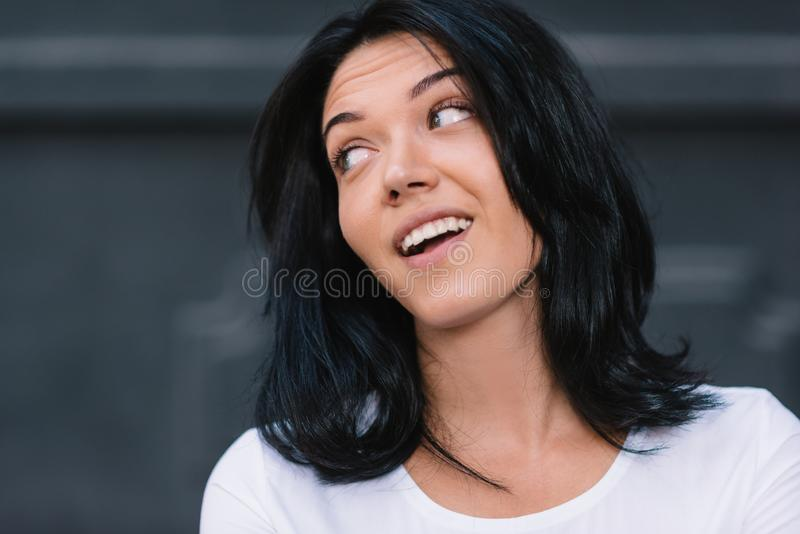 Close up portrait of positive human facial expressions and emotions. shot of attractive European woman looking and royalty free stock photography