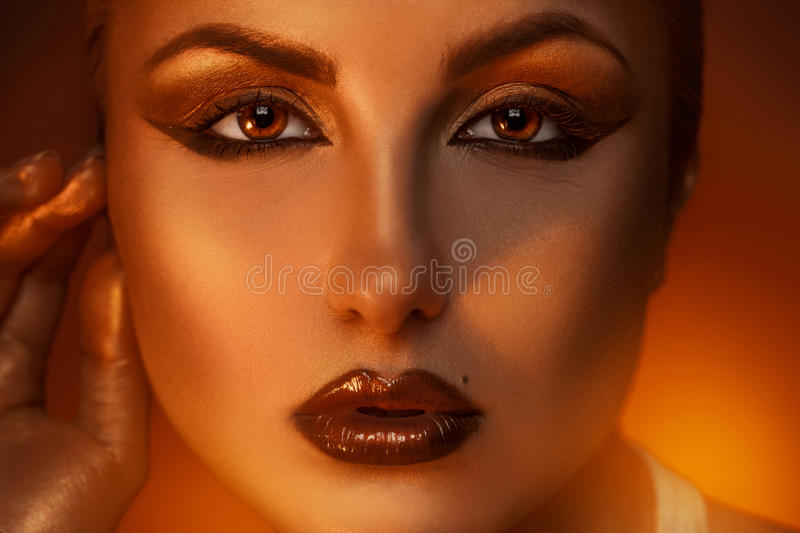 Close up portrait of pretty caucasian woman with b stock photo