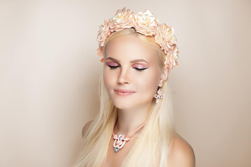 Beige make up necklace royalty free stock photo