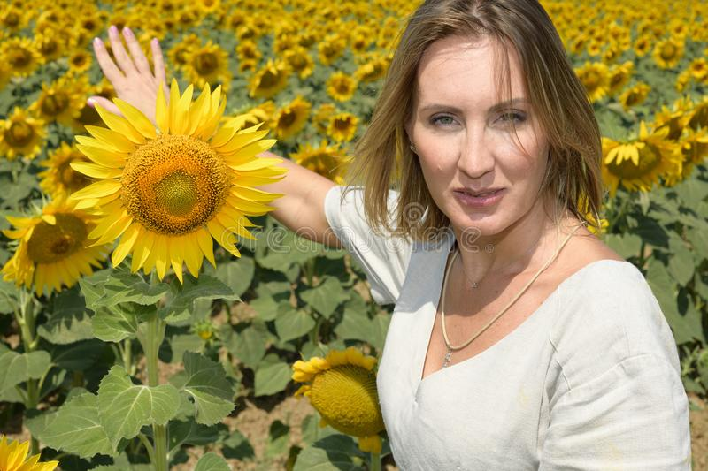Close up portrait of a pretty woman looks at the camera as she shows a field of sunflowers behind her. She has a large sunflower. Close up portrait of a pretty stock images