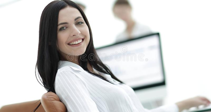 Close-up portrait of a professional young business woman stock photo
