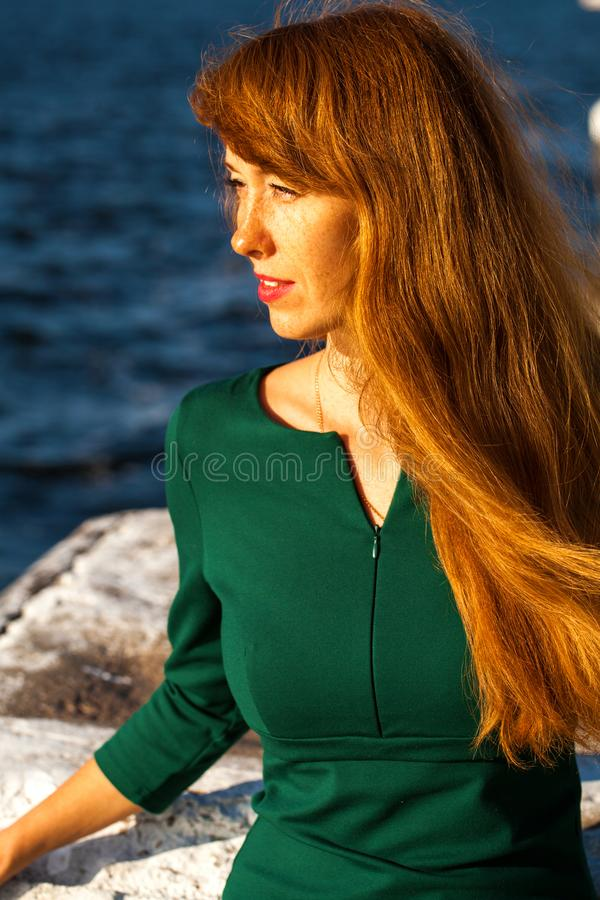 Happy Portrait red-haired woman. Close up portrait red-haired woman stock photography