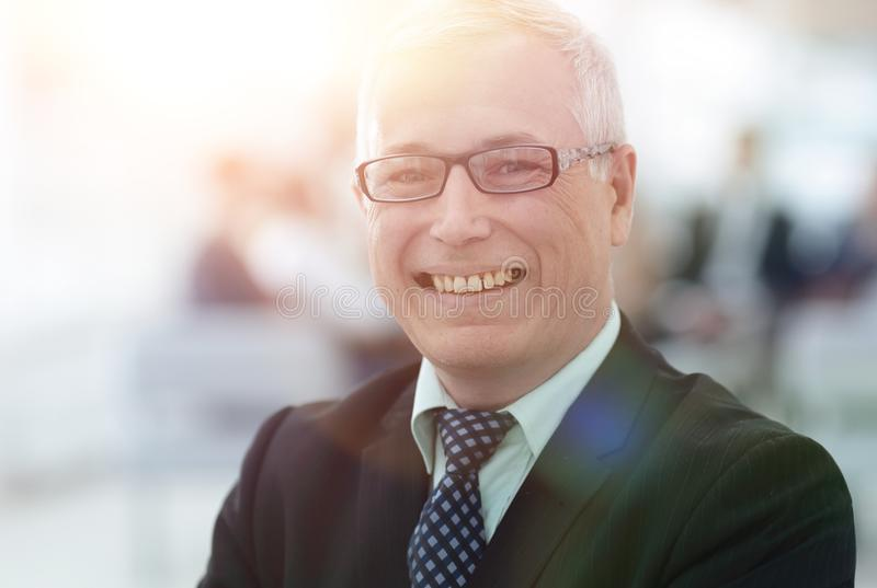 Close up portrait of senior businessman in office royalty free stock photos