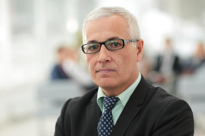 Close up portrait of senior businessman in office royalty free stock photography