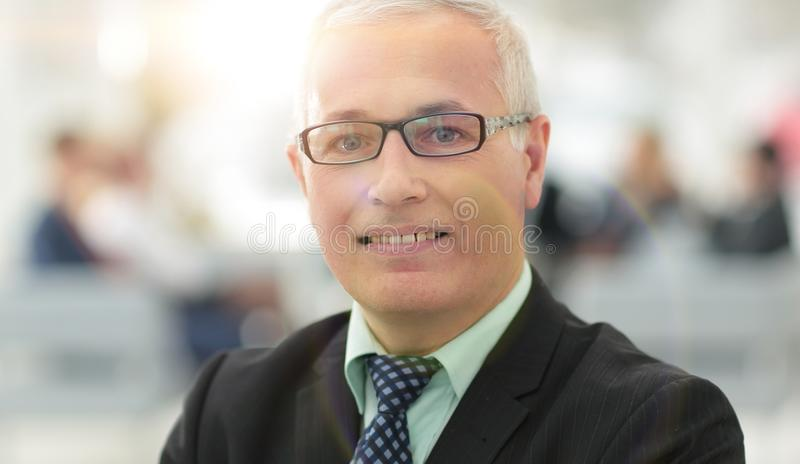 Close up portrait of senior businessman in office royalty free stock photo