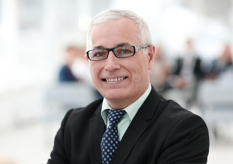 Close up portrait of senior businessman in office stock photo