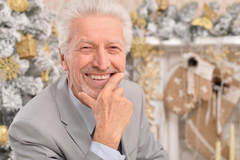 Close up portrait of senior man with Christmas tree stock photography