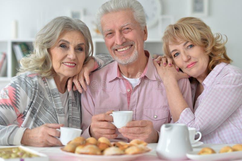 Close up portrait of senior people drinking tea royalty free stock photos