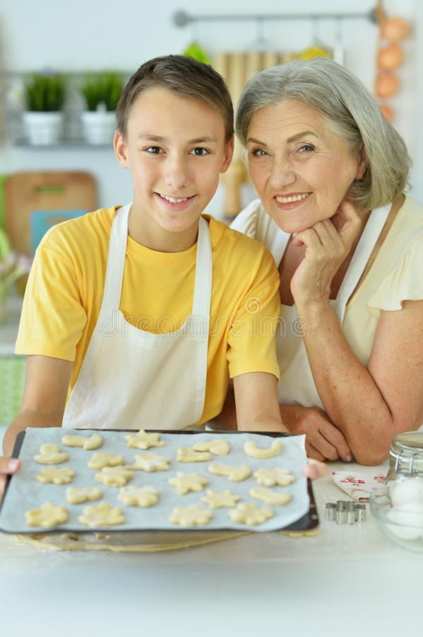 Close up portrait of senior woman and boy stock image