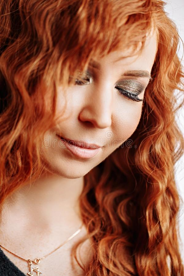 Close up portrait of young beautiful redhead girl royalty free stock image