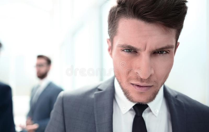 Close up.portrait of a serious young businessman stock images