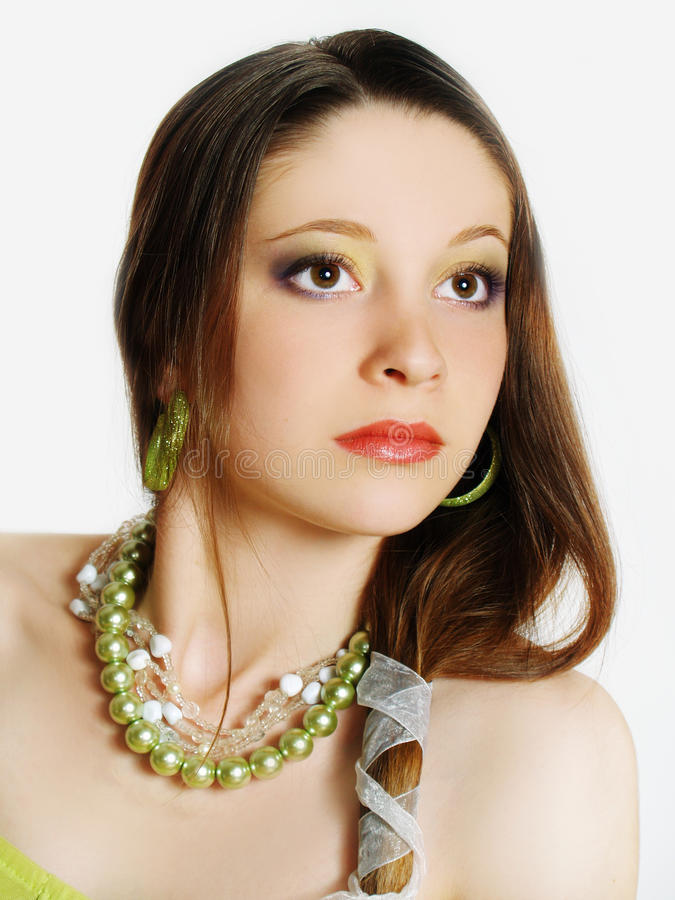 Close-up portrait of caucasian young woman stock images