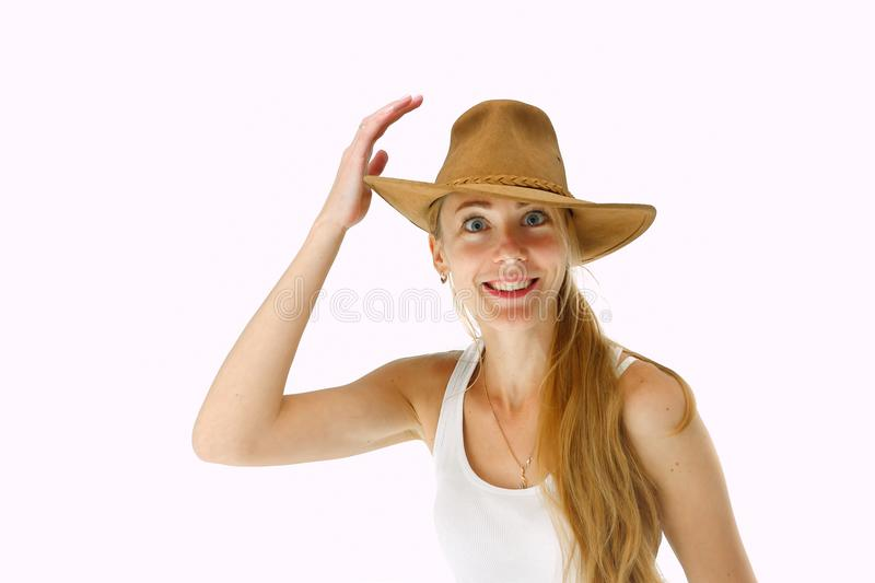 Close up portrait of smiling young woman with cowboy hat stock photos