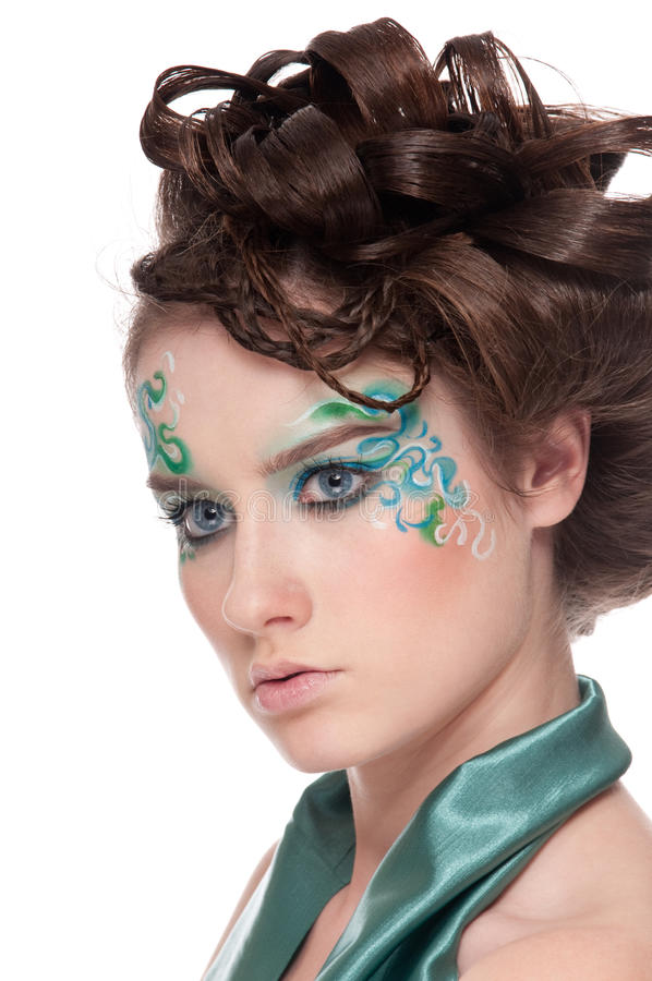 Close-up portrait of sprite girl with faceart stock photos