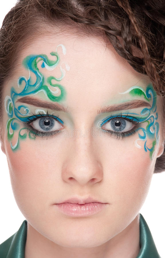 Close-up portrait of sprite girl with faceart royalty free stock photo