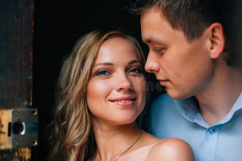 Close up portrait of stylish couple in love. stock photography