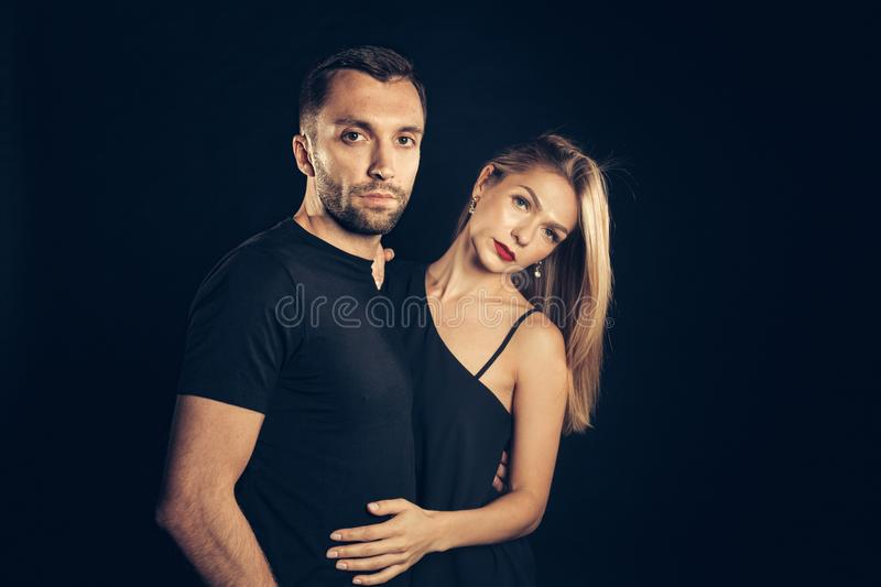 Portrait of stylish young couple, pretty woman and handsome man stock photography