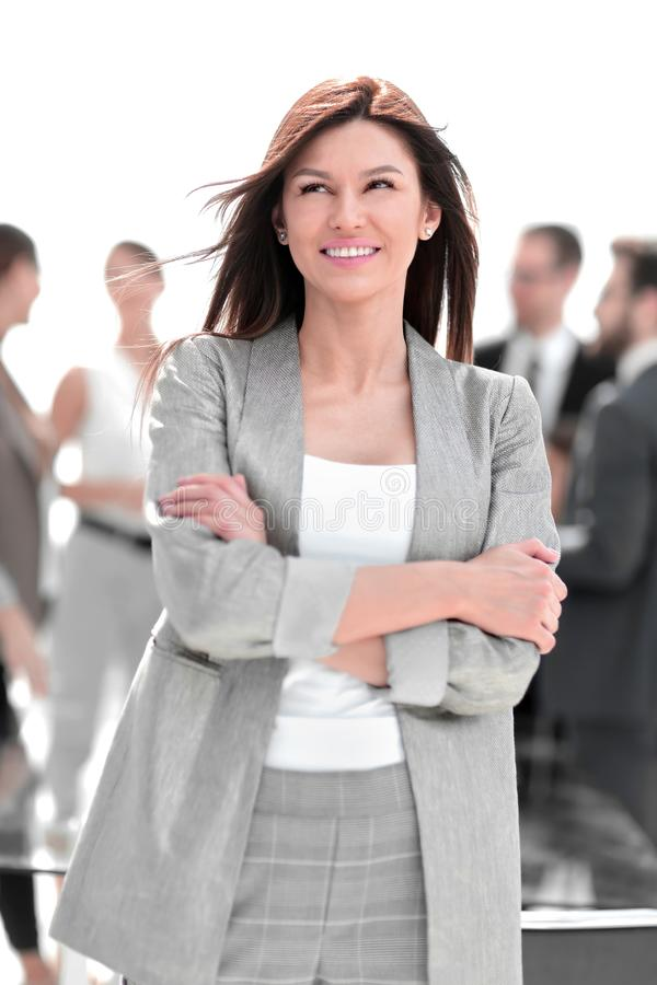 Close up.portrait of successful business woman on blurred office background royalty free stock photography