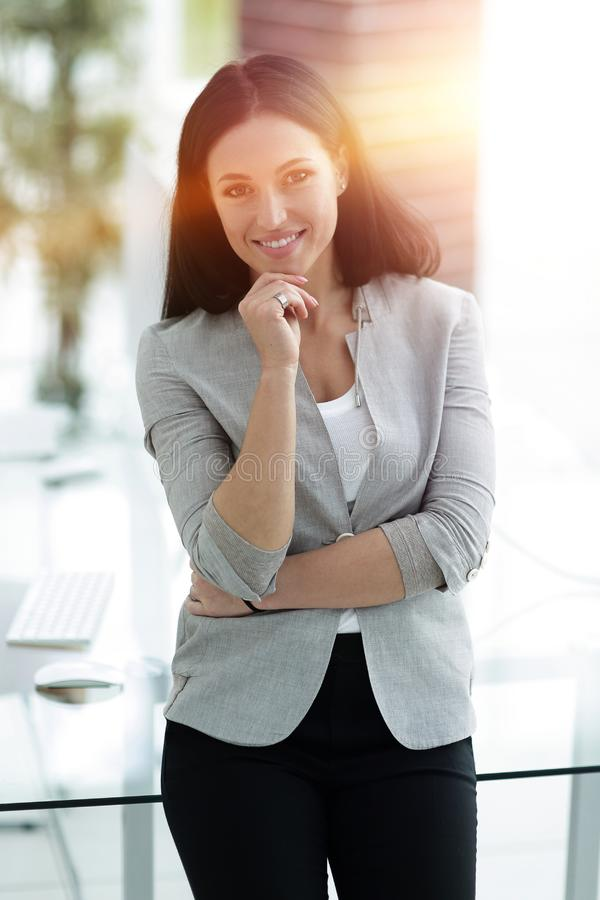 Close-up. portrait of successful business woman. stock image