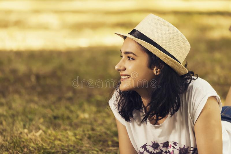 Portrait of a teenage girl outdoors royalty free stock photo