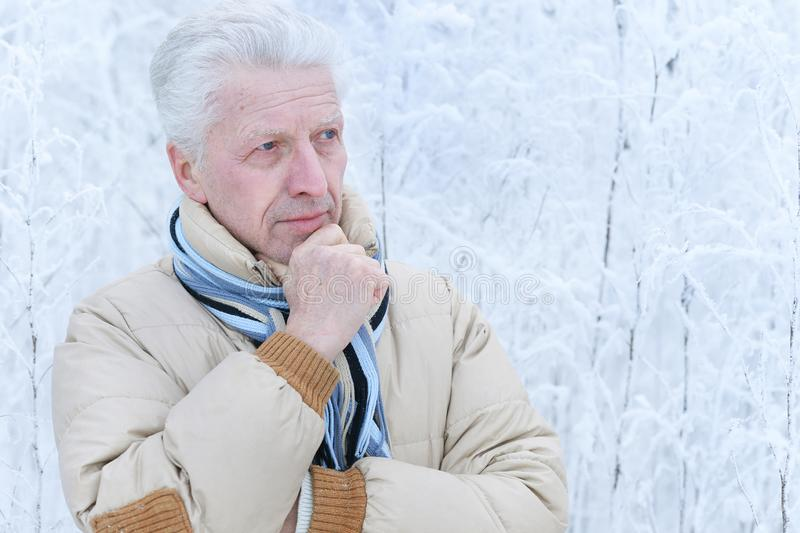 Close up portrait of thoughtful senior man royalty free stock photos