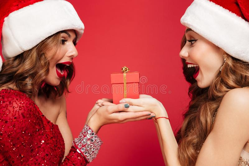Close up portrait of two excited women in christmas hats royalty free stock image