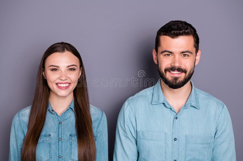 Close-up portrait of two her she his he nice attractive charming winsome lovely cheerful cheery brown-haired person stock photography