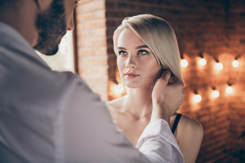Close-up portrait of two person nice-looking sweet stunning shine gorgeous attractive lovely lady having affair with guy royalty free stock image
