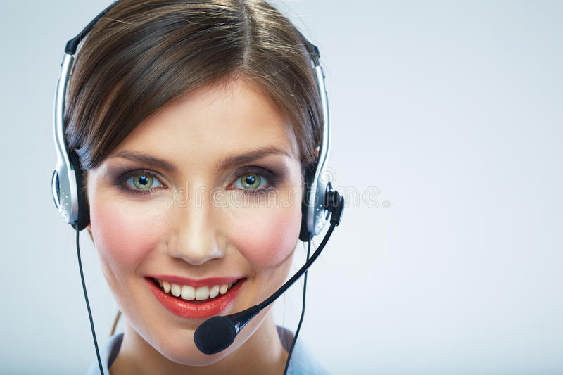 Close Up Portrait. Woman call center operator. Business woman w royalty free stock photo