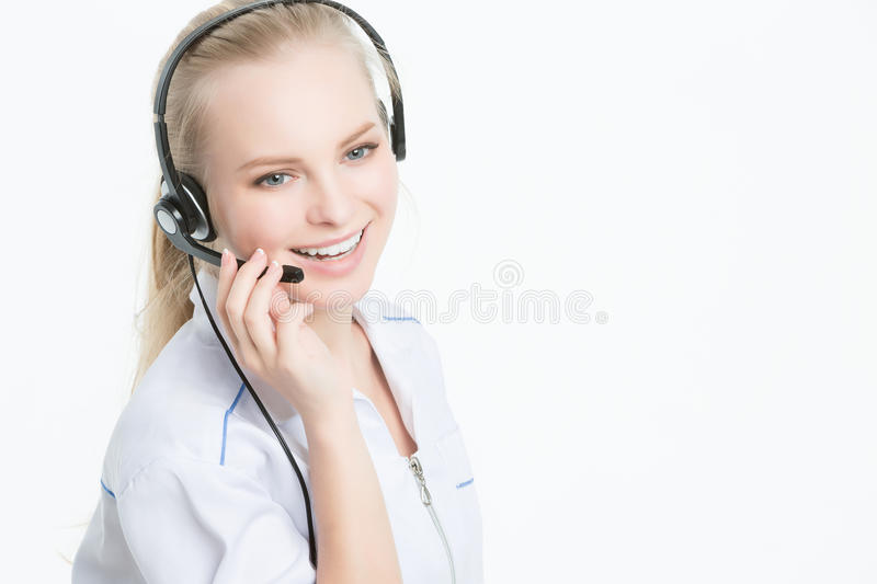 Close up portrait of Woman customer service worker stock image