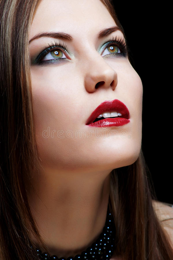Download Close-up Portrait  Woman With Red Lips Stock Photo - Image of fingernail, makeup: 24620714