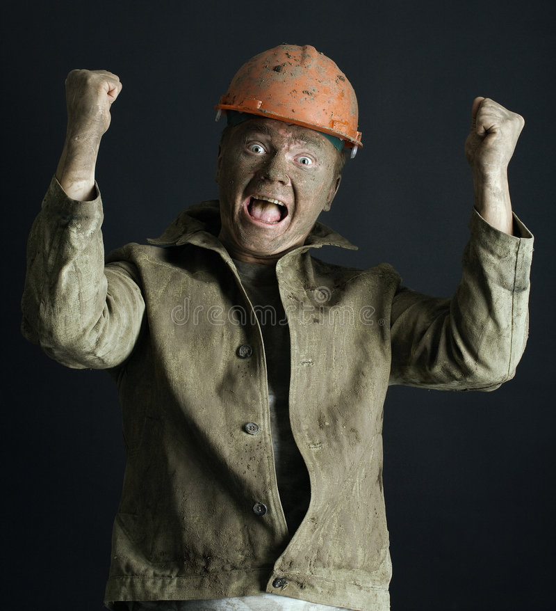 Close-up portrait worker man stock image
