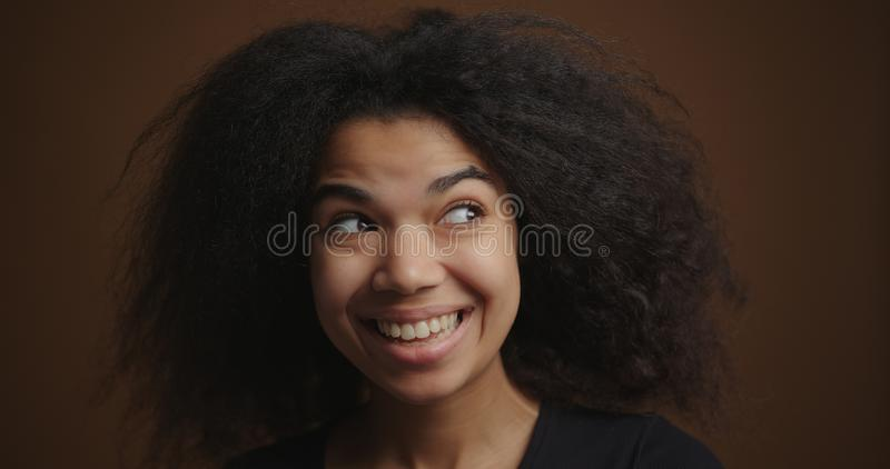 Close up portrait of young african american girl smiling looking to camera stock images