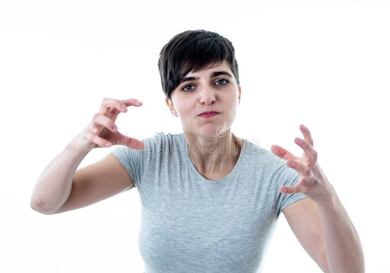 Human expressions and emotions. Desperate young attractive woman with angry face looking furious royalty free stock photography